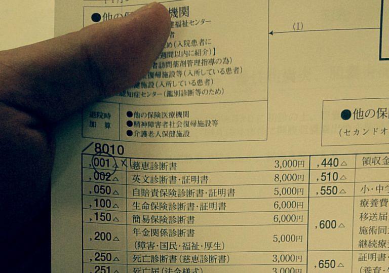 診断書の料金表
