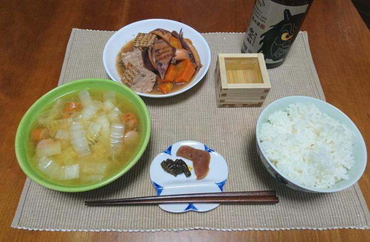 イカと人参と焼き豆腐の煮物