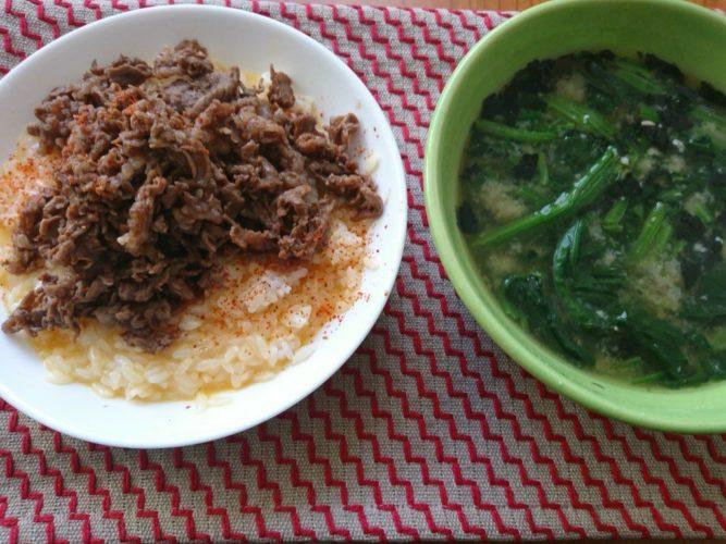 牛肉の佃煮たまご飯でサクッと出来た昼食