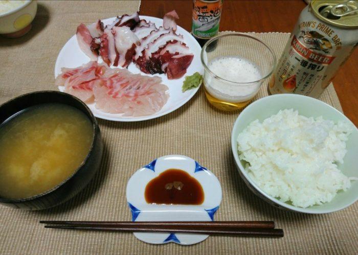岩手の物産館で買った山田の醤油で食べるお刺身