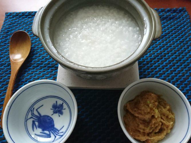 土鍋で炊いたおかゆはうまい