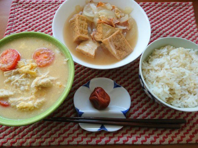 和と洋の食材を合わせたごった煮と、発芽玄米ご飯