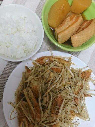 大根と豚肉の煮物と竹輪ともやし炒めでボリュームたっぷりな晩御飯
