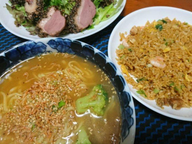 マルちゃん正麺と味の素の香炒飯は最強のコンビだけどサラダもつけとけ(笑)