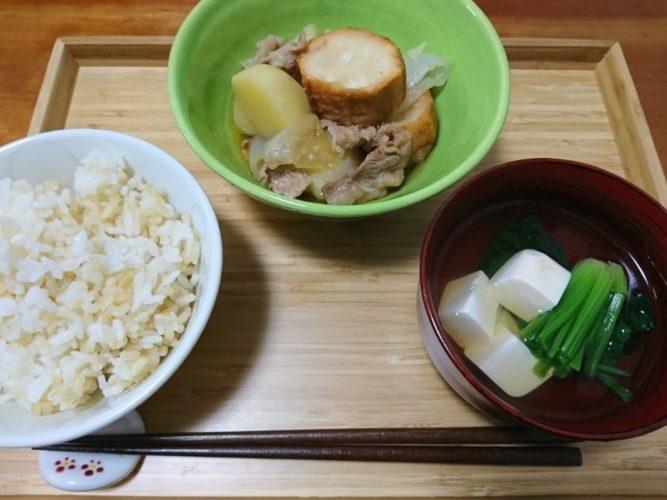 仙台麩の肉じゃがとお吸い物