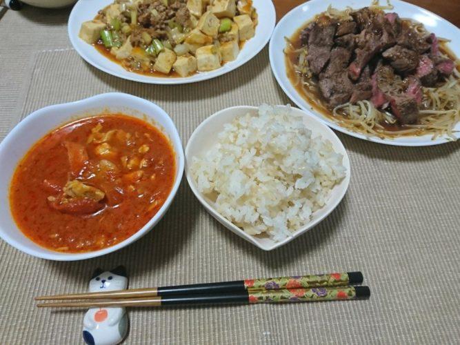 簡単美味しいもやしステーキと麻婆豆腐・・・暴飲暴食(笑)