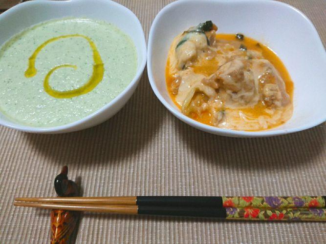 キュウリのスープとチーズタッカルビ
