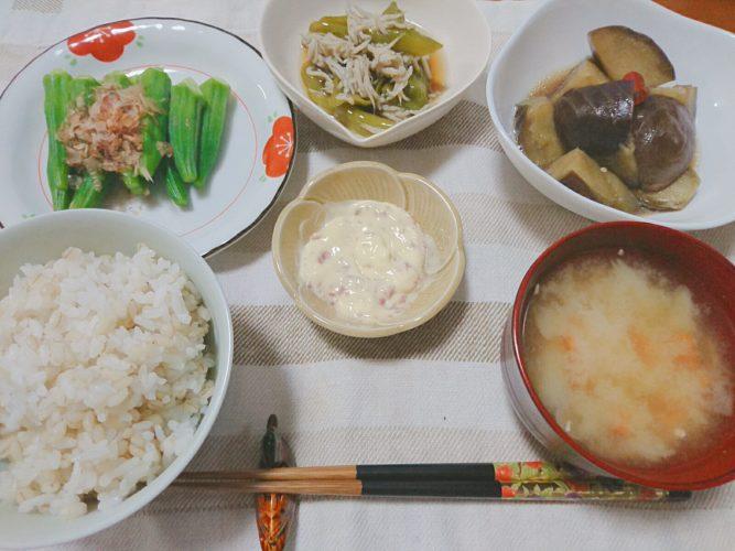 たまには一汁三菜、野菜中心の健康食