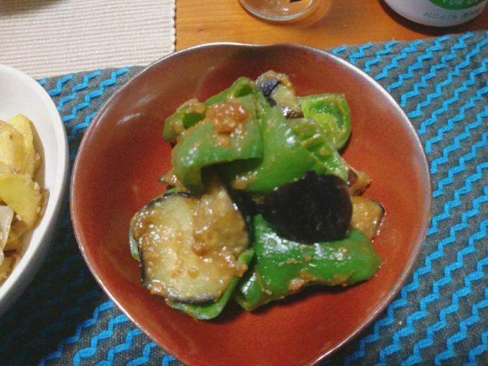 茄子とピーマンの味噌炒め
