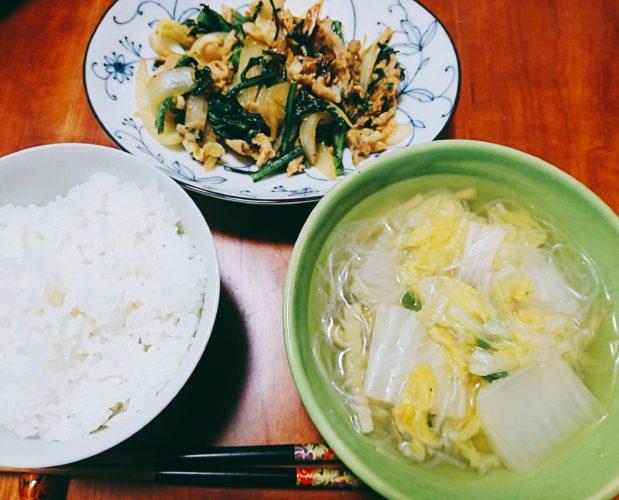 カレー炒めとナンプラーで味付けしたエスニック風スープ