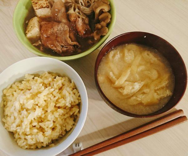 卵まぜご飯と治部煮風牛肉の煮物