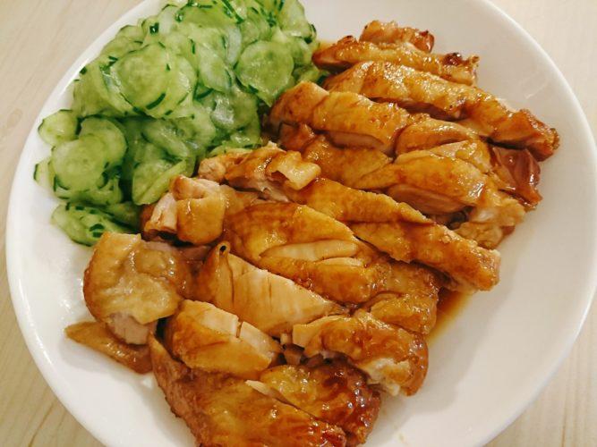 照り焼きチキンと魚肉ソーセージ炒め