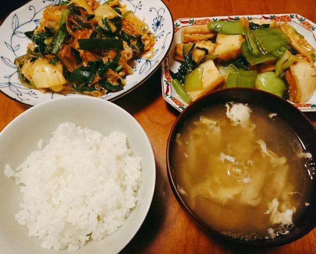 祝令和!中華風豚キムチと厚揚げの炒め物