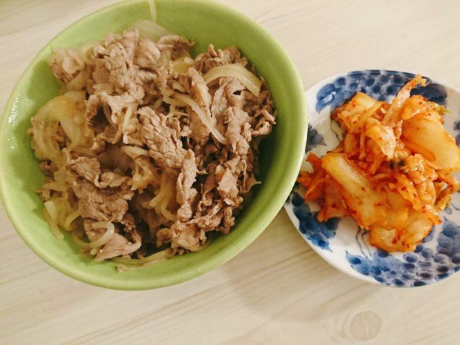自家製キムチ牛丼と鴨肉炒め