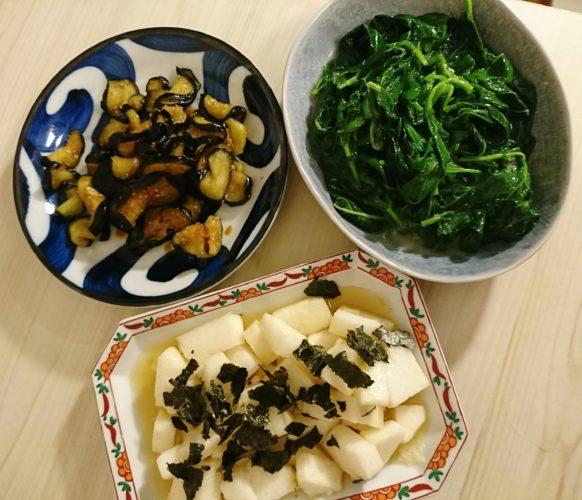 野菜を食べて夏バテ予防!茄子の塩もみとモロヘイヤのお浸し、わさび風味の長芋