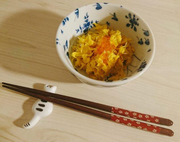 菊のお浸しと、とんぶりサラダ、〆は塩いくら丼