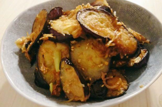 茄子とミョウガの味噌炒め