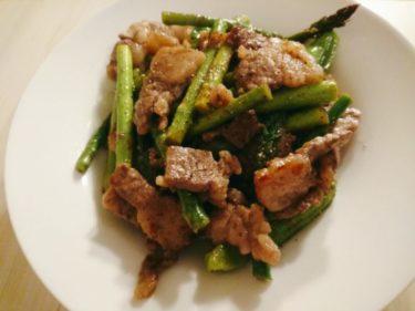 豚肉とアスパラとししとうの炒め物、レンチン!タラコとバター