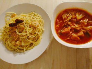 ペペロンチーノとスープ